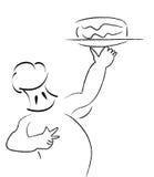 Chef. Cartoon chef  takeout the birthday cake Stock Photo