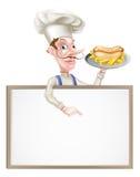 Chef Above Sign de hot dog de bande dessinée illustration stock