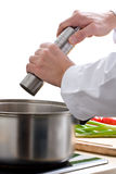 Chef adding pepper royalty free stock photos