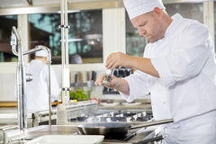 Chef adding pepper on steak in a professional kitchen. Chef and his assistant prepares beef steak dish in a pan at a professional kitchen. Gourmet restaurant or Stock Images