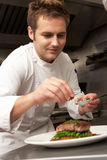Chef Adding Seasoning To Dish In Restaurant. Kitchen stock photography