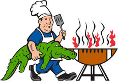 Chef Alligator Spatula BBQ Grill Cartoon. Illustration of a chef smiling carrying alligator in one hand and holding spatula in the other hand cooking with bbq Royalty Free Stock Photo