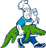 Chef Alligator Spatula Walking Cartoon Stock Image