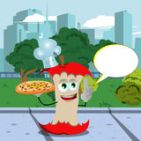 Chef apple core holding pizza with attitude in the city park with speech bubble Stock Image