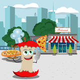 Chef apple core holding pizza with attitude in front of a restaurant Royalty Free Stock Photos