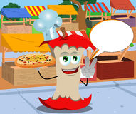Chef apple core with pizza gesturing the peace sign on the market with speech bubble Royalty Free Stock Photo