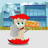 Chef apple core with pizza holding a stop sign in the city Stock Image