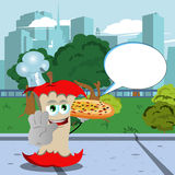 Chef apple core with pizza holding a stop sign in the city park with speech bubble Royalty Free Stock Photography