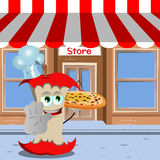 Chef apple core with pizza holding a stop sign in front of a storefront Royalty Free Stock Photo