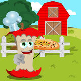 Chef apple core with pizza pointing at viewer on a farm Stock Photography
