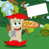 Chef apple core with pizza pointing at viewer in the forest with speech bubble Royalty Free Stock Photo
