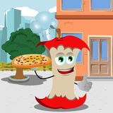 Chef apple core with pizza showing thumb up in the city Stock Image