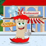 Chef apple core with pizza showing thumb up in front of a restaurant Royalty Free Stock Image