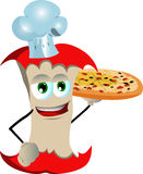 Chef apple core showing a delicious pizza Royalty Free Stock Photo