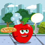 Chef apple holding pizza with attitude in the city park with speech bubble Royalty Free Stock Images
