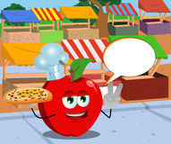 Chef apple with pizza gesturing the peace sign on the market with speech bubble Stock Images