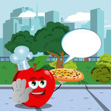 Chef apple with pizza holding a stop sign in the city park with speech bubble Stock Photography