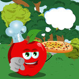Chef apple with pizza pointing at viewer in the forest with speech bubble Stock Images