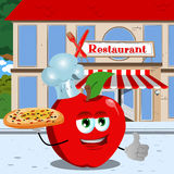 Chef apple with pizza showing thumb up in front of a restaurant Royalty Free Stock Photos