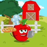 Chef apple with pizza and tablet on a farm Royalty Free Stock Photos