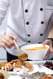 Chef apply chicken soup to Roast Turkey Royalty Free Stock Photo