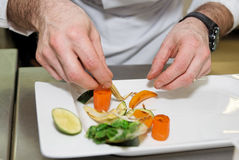 Chef is arranging delicious vegetarian dish Royalty Free Stock Images