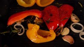 Chef assaisonnant le paprika doux pendant la torréfaction banque de vidéos