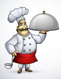 Chef avec des plats d'une signature illustration de vecteur