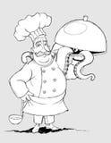 Chef avec des plats de signature des tentacules. À main levée  Photographie stock