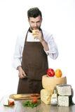 Chef avec du fromage Photos stock