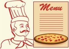 Chef avec la carte et la pizza. Image stock