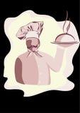 Chef avec la moustache et le chapeau. Photos libres de droits