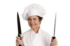 Chef avec le couteau Photographie stock