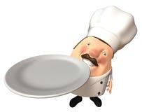 Chef avec une plaque vide Images stock
