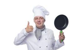 Chef avec une poêle sur un blanc Photos libres de droits