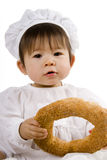 Chef baby with bread Stock Images