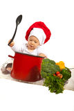 Chef baby holding spoon Royalty Free Stock Image