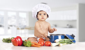 Chef baby kitchen Royalty Free Stock Image