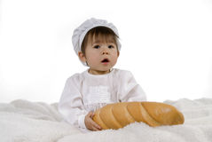 Chef Baby With Bread Royalty Free Stock Image