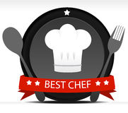 Chef Badge. Illustration with red vivid red ribbon Stock Image