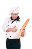 Chef with baguette Royalty Free Stock Image