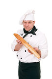 Chef with baguette Royalty Free Stock Photo