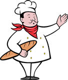 Chef baker with bread loaf. Illustration of a baker with bread loaf done in retro style Royalty Free Stock Images