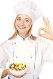 Chef baker or cook showing ok Stock Photo