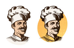 Chef, baker, cook symbol. Cooking, restaurant or cafe logo. Vector illustration Stock Photos