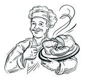 Chef Baker and fresh Bread Royalty Free Stock Image