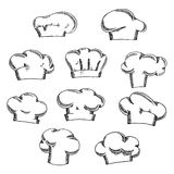 Chef and baker hats or toques sketches Royalty Free Stock Images