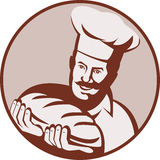 Chef baker holding loaf bread. Illustration of a cook,chef or baker holding a loaf of bread Royalty Free Stock Photography