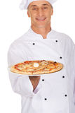 Chef baker with italian pizza Royalty Free Stock Images