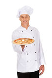 Chef baker with italian pizza Royalty Free Stock Photography